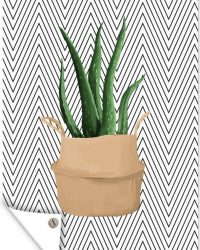 Tuinposter - Illustratie van een Aloë vera plant met zwarte zigzaggen - 40x60 cm
