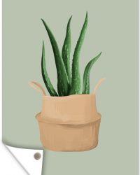 Tuinposter - Illustratie van een Aloë vera plant op een grijsblauwe achtergrond - 60x90 cm