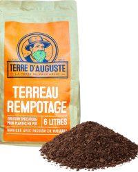 TERRE D'AUGUSTE - Potgrond 6L met rits - Specifieke oplossing voor potplanten - Alle variëteiten van kamerplanten en palmen - Groene en bloeiende planten