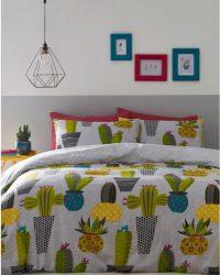 1-persoons dekbedovertrek grijs met cactussen / vetplanten in vrolijke retro bloempotten 140 x 200 cm